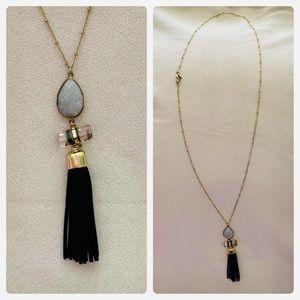 4/$20 LOFT long gold black leather tassel necklace